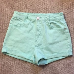 Mint Green high waisted shorts (24)